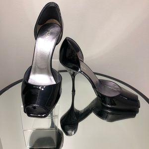 Prada Peep Toe Patent Leather Pump